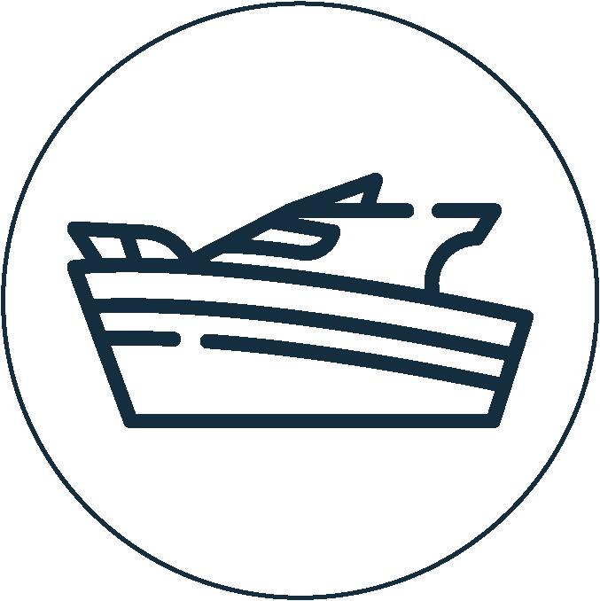 Yacht Button Icon blue white